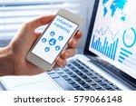 inlfuencer marketing concept on ... | Shutterstock . vector #579066148