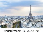 evening eiffel tower and paris... | Shutterstock . vector #579070270