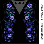 embroidery ethnic flowers neck... | Shutterstock .eps vector #579071950