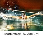 teenager boy swim butterfly... | Shutterstock . vector #579081274