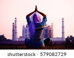 young christian woman in... | Shutterstock . vector #579082729