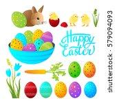 easter set of elements. basket... | Shutterstock .eps vector #579094093