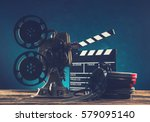 old style movie projector ... | Shutterstock . vector #579095140