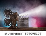 old style movie projector ... | Shutterstock . vector #579095179