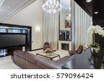 living room with brown leather... | Shutterstock . vector #579096424