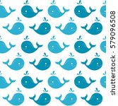 cute whale seamless pattern.... | Shutterstock .eps vector #579096508