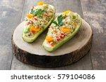 stuffed zucchini with quinoa... | Shutterstock . vector #579104086