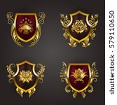set of golden royal shields... | Shutterstock .eps vector #579110650