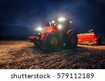 tractor preparing land with... | Shutterstock . vector #579112189