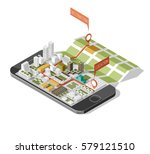 city isometric plan with road... | Shutterstock .eps vector #579121510