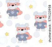 hand drawn seamless superhero... | Shutterstock .eps vector #579123958