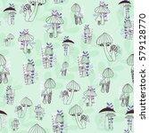 Mushrooms Seamless Pattern On...