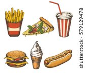 set of hand drawn fast food... | Shutterstock .eps vector #579129478