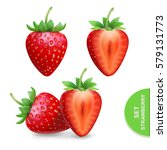 realistic strawberry icons set  ... | Shutterstock .eps vector #579131773
