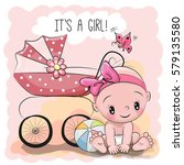 greeting card it is a girl with ... | Shutterstock .eps vector #579135580