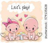 two cute cartoon babies boy and ... | Shutterstock .eps vector #579135628