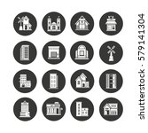 building icons set in circle... | Shutterstock .eps vector #579141304