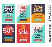 flat design sale website... | Shutterstock .eps vector #579157024
