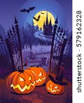 halloween pumpkins and dark... | Shutterstock .eps vector #579162328