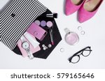 top view striped clutch with...   Shutterstock . vector #579165646