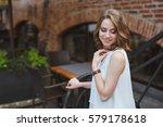 beautiful girl dressed in denim ... | Shutterstock . vector #579178618