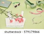 fashion girl accessories... | Shutterstock . vector #579179866