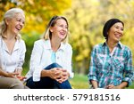 three mature ladies outdoors... | Shutterstock . vector #579181516