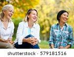 three mature ladies outdoors... | Shutterstock . vector #579181516