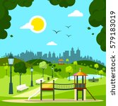 city garden with children's... | Shutterstock .eps vector #579183019