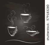 hand drawn coffee cups in a... | Shutterstock .eps vector #579183280