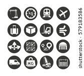 cargo and shipping icons set in ... | Shutterstock .eps vector #579183586