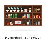 wooden shelf for coffee... | Shutterstock .eps vector #579184339