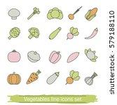 vegetable line icons set.... | Shutterstock .eps vector #579188110