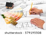male hands writing on notebook  ... | Shutterstock . vector #579195508