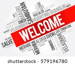 welcome word cloud in different ... | Shutterstock .eps vector #579196780