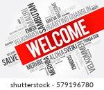 welcome word cloud in different ... | Shutterstock .eps vector #579196780