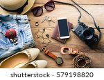 travel clothing accessories... | Shutterstock . vector #579198820