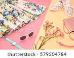 fashion summer girl clothes set ... | Shutterstock . vector #579204784