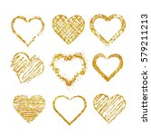 Set Of Isolated Hearts Made Of...