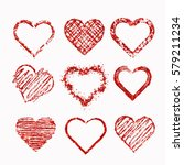 set of isolated hearts made of... | Shutterstock . vector #579211234