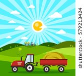 field with tractors. tractor on ... | Shutterstock .eps vector #579213424