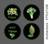 organic. stickers on black... | Shutterstock .eps vector #579217108