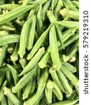 Small photo of Fresh green okra or Abelmoschus Esculentus from the farm.