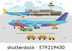 airport arrivals at airport and ... | Shutterstock .eps vector #579219430
