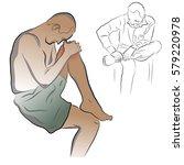 man clings to his leg  leg pain ... | Shutterstock .eps vector #579220978