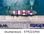 container ship in export and... | Shutterstock . vector #579221944