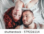 top view of a happy couple... | Shutterstock . vector #579226114
