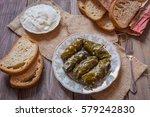 dolma grape leaves with matsun... | Shutterstock . vector #579242830