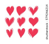 set of hand drawn hearts.... | Shutterstock .eps vector #579246214