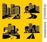 city icons vector. | Shutterstock .eps vector #579255910